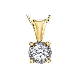 10K Yellow Gold (0.20ct) Illusion Setting Diamond Solitaire Pendant