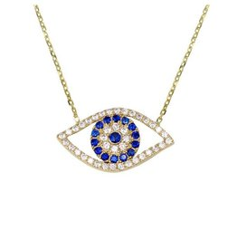 10K Yellow Gold Evil Eye CZ Necklace
