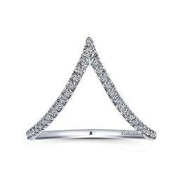 Gabriel & Co Gabriel & Co 14K (White, Yellow) Gold Curved Pavé Diamond V Ring