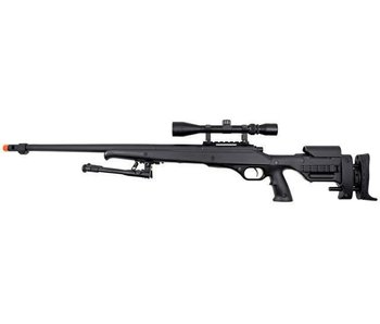 WELL MB12 VSR10 Gripped Adjustable Stock Bolt Action Spring Sniper Rifle with Fluted Barrel