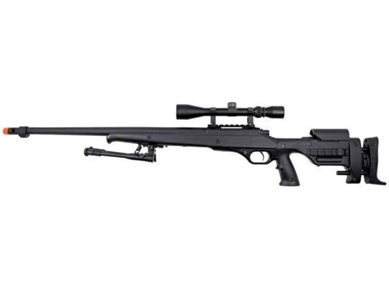 Well WELL MB12 VSR10 Gripped Adjustable Stock Bolt Action Spring Sniper Rifle with Fluted Barrel