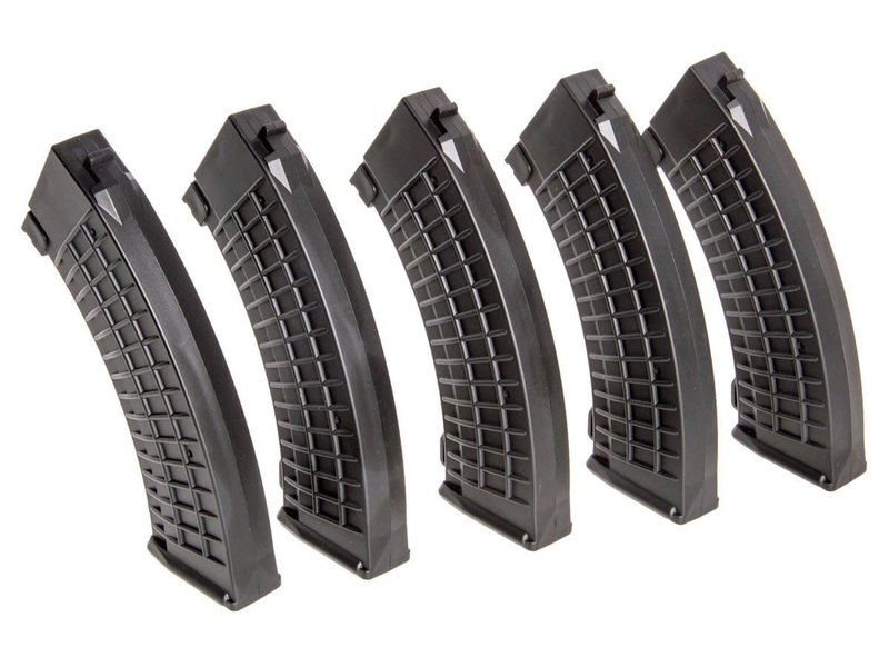 King Arms King Arms AK 110 Round Polish Midcap Magazine 5 Pack Black