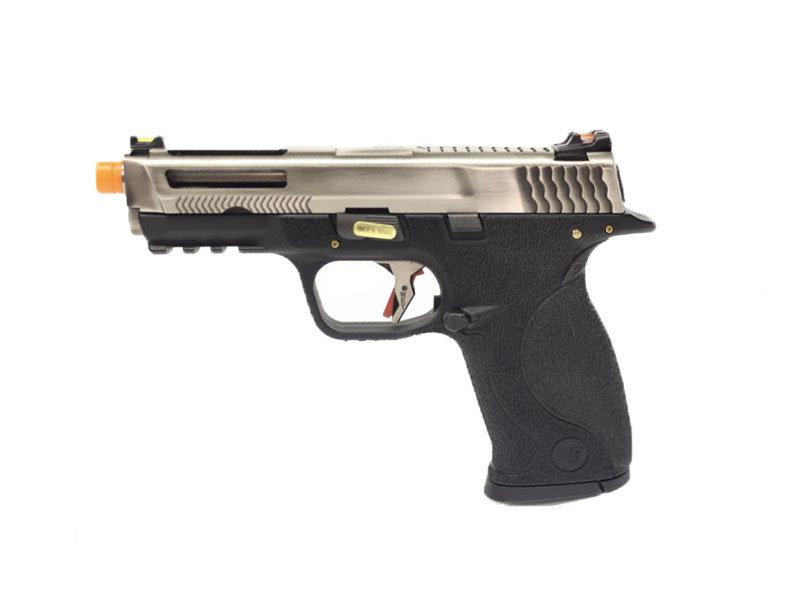 WE Tech WE-Tech MP4 5.0 Custom Silver Barrel Gas Blowback Airsoft Pistol