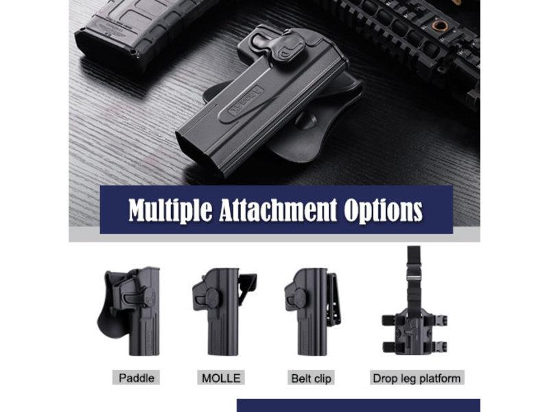 Amomax Hardshell holster, Glock (TM/KJ/WE/EF), Black, RH