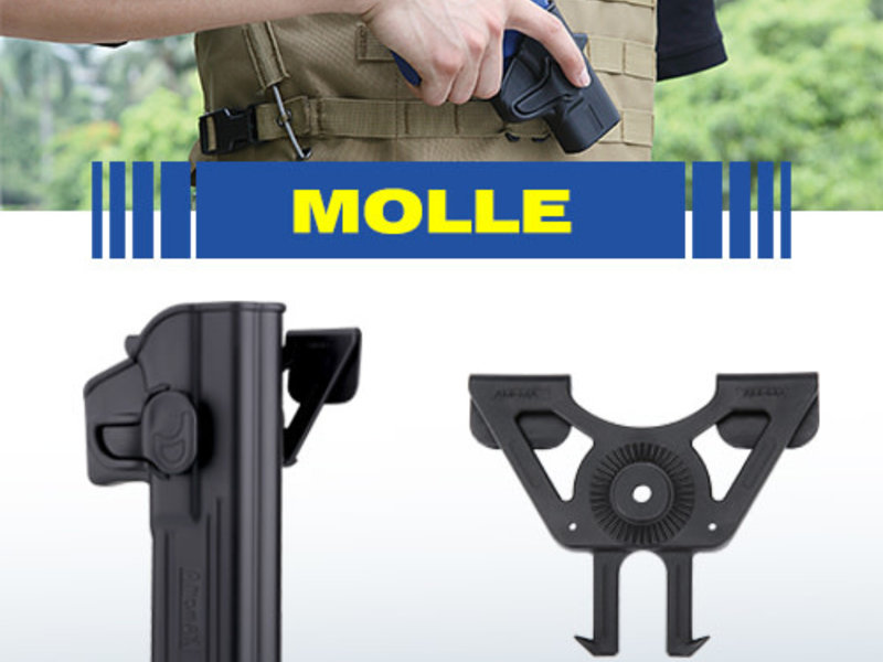 Amomax Molle holster adapter for Amomax/Cytac/Strike Systems holsters. Black