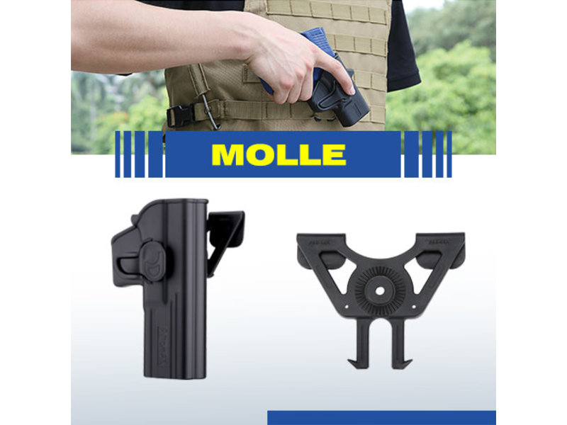 Amomax Molle holster adapter for Amomax/Cytac/Stike Systems holsters. Black