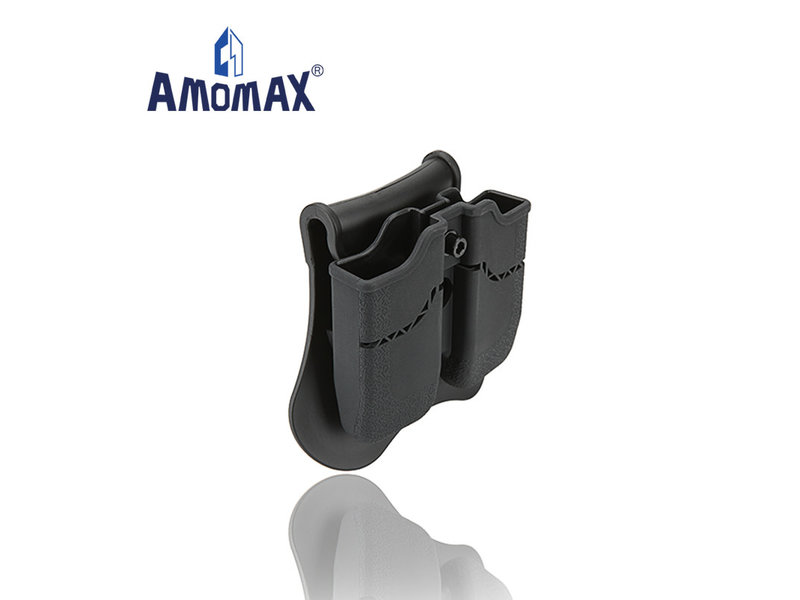 Amomax Hardshell double magazine pouch for 1911 single stack magazines, black