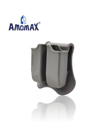 Amomax Amomax Hardshell Dbl Mag Pouch 1911 Single Stack Mag, FDE