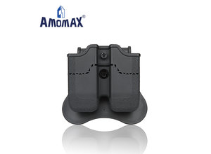 Amomax Amomax Hardshell Dbl Mag Pouch 9mm, BLK