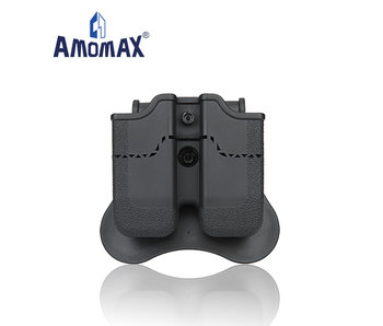 Amomax Hardshell Dbl Mag Pouch 9mm, BLK