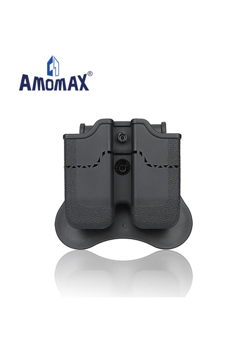 Amomax hardshell double magazine pouch for 9mm magazines, black