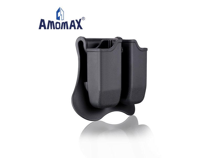 Amomax Hardshell double magazine pouch for Glock magazines, black