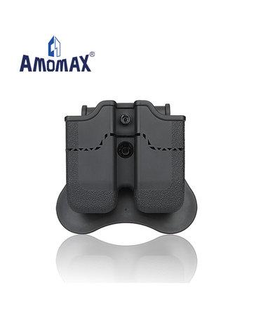 Amomax Amomax Hardshell Dbl Mag Pouch H&K & Sig P320/M17 Mag, Blk