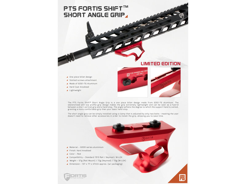 PTS PTS Fortis Shift Short Angle Grip MLOK Red Ltd Edition