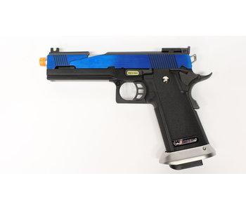 WE Hi Capa 5.1 split slide gas blowback pistol, electric blue
