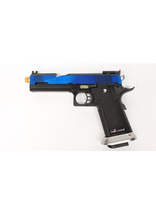 WE Hi Capa 5.1 split slide gas blowback pistol, electric blue