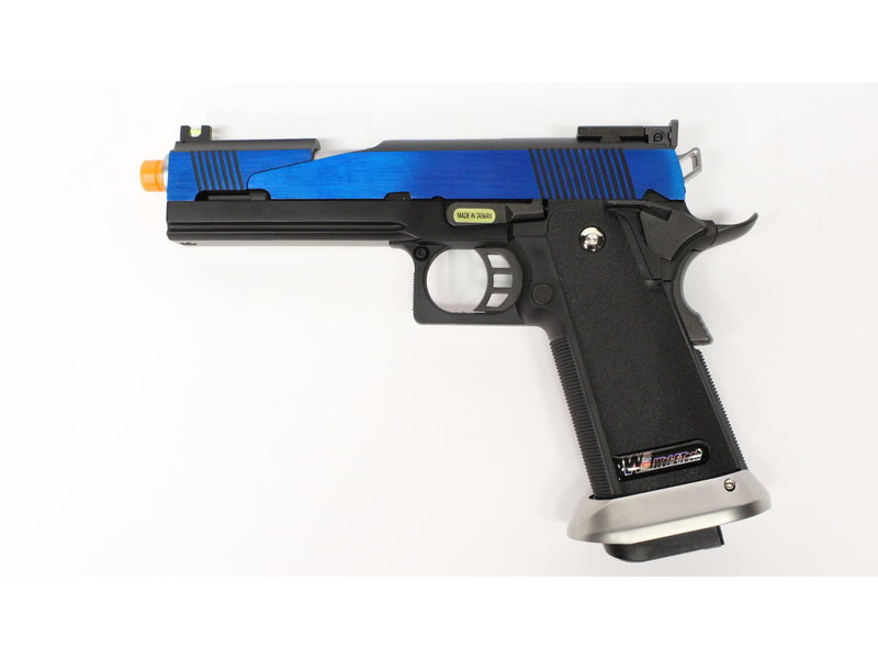 WE Tech WE Hi Capa 5.1 split slide gas blowback pistol, electric blue