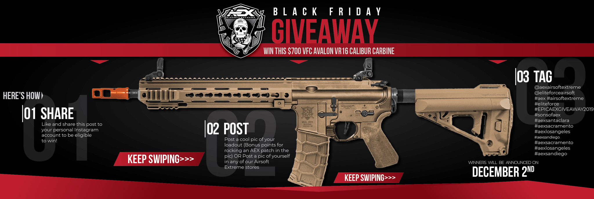 Black Friday Instagram Give Away Win A Custom 700 Vfc Avalon Vr16 Calibur Carbine Airsoft Extreme