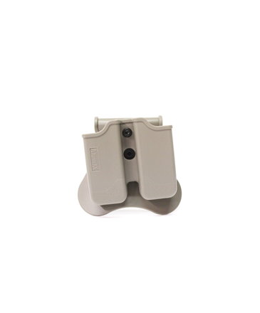 Amomax Amomax Hardshell Dbl Mag Pouch 9mm, FDE