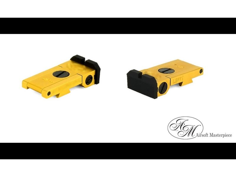 Airsoft Masterpiece Airsoft Masterpiece Aluminum Rear Sight - S Style Ver. 1 - Gold