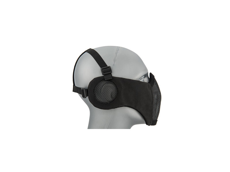 WoSport WoSport Steel Mesh Nylon Mask w/ Ear Black