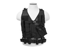 NcStar NcStar Adult Crossdraw Tactical Vest, Black, MED - 2XL