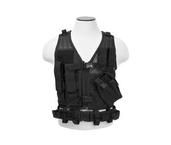 NcStar Adult Crossdraw Tactical Vest, Black, MED - 2XL