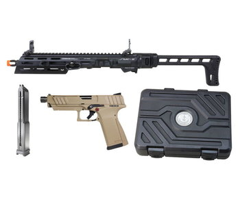 G&G SMC 9 Carbine Kit with GTP 9 GBB Pistol and 50 round Magazine Tan