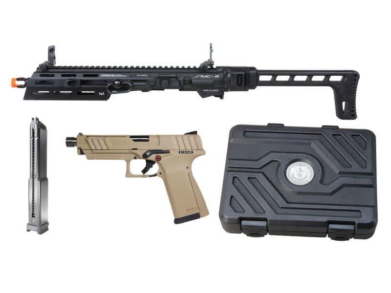 G&G G&G SMC 9 Carbine Kit with GTP 9 GBB Pistol and 50 round Magazine Tan