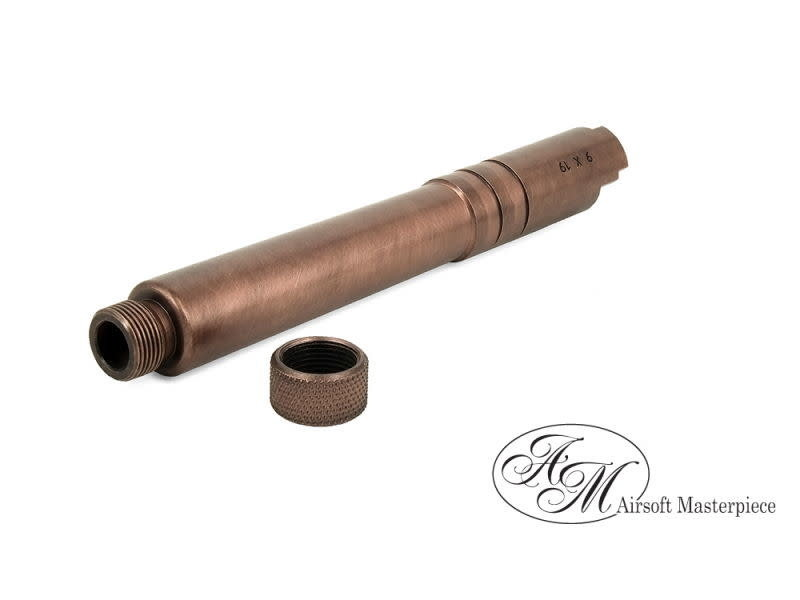 Airsoft Masterpiece Airsoft Masterpiece Stainless Steel FIX Threaded Outer Barrel for 5.1 Hi Capa, Copper