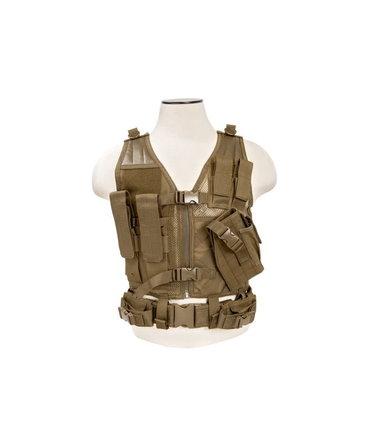 NcStar NcStar Cross Draw Tactical Vest, XS/SM, Tan