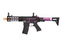 "Lancer Tactical Lancer Tactical GEN2 M4 Enforcer Proline 7"" Battle Hawk PDW Skeleton High FPS Metal Rifle Black/Purple"