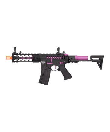 """Lancer Tactical Lancer Tactical GEN2 M4 Enforcer Proline 7"""" Battle Hawk PDW Skeleton High FPS Metal Rifle Black/Purple"""
