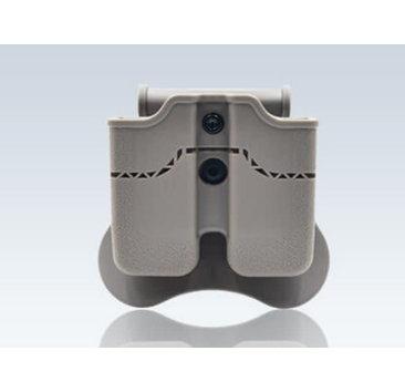 Amomax Amomax Hardshell Dbl Mag Pouch H&K & Sig P320/M17 Mag, FDE