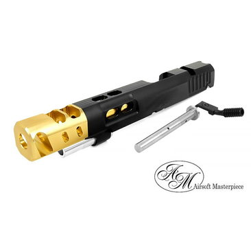 Airsoft Masterpiece Airsoft Masterpiece Custom S Style DVC STEEL Open Slide Kit for Hi Capa 5.1 Black / Gold Comp