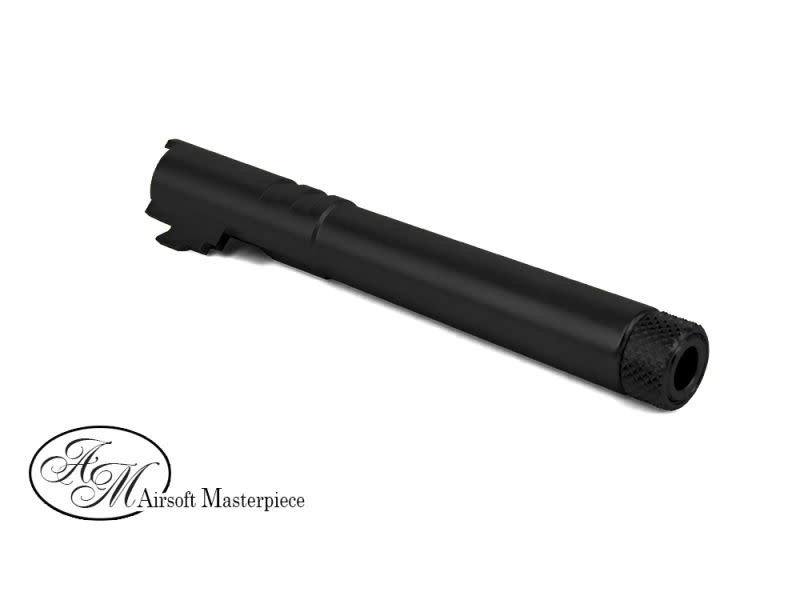 Airsoft Masterpiece Airsoft Masterpiece Hi Capa 5.1 Threaded Fixed STEEL Outer Barrel with Thread Adapter and Cap Black