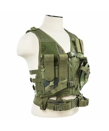 NcStar NcStar Cross Draw Tactical Vest, XS/SM, Woodland Camo