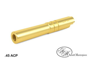 Airsoft Masterpiece Airsoft Masterpiece Hi Capa 4.3 .45 ACP Threaded Fixed STEEL Outer Barrel Gold