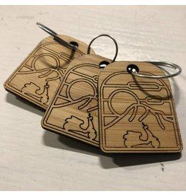 Vespa Portland Wood Keychain