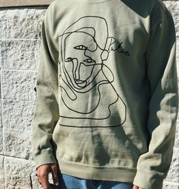 Rukus Faces Crewneck Dusty Olive