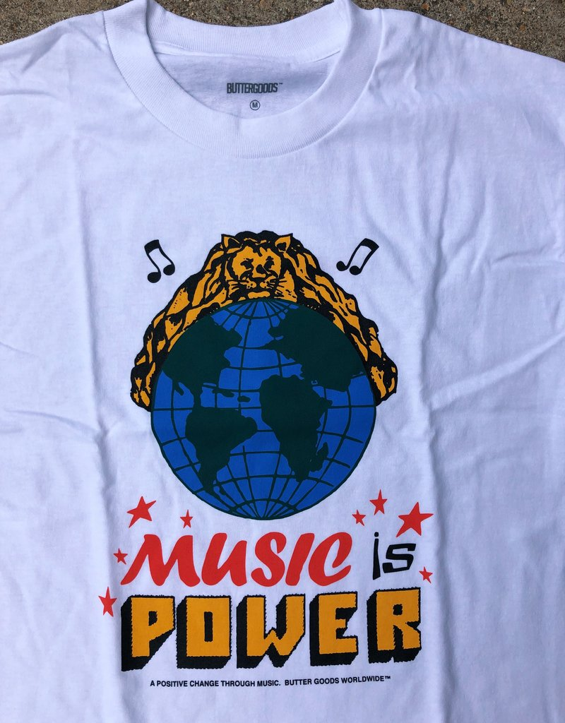 Butter Goods Music Is Power Tee white