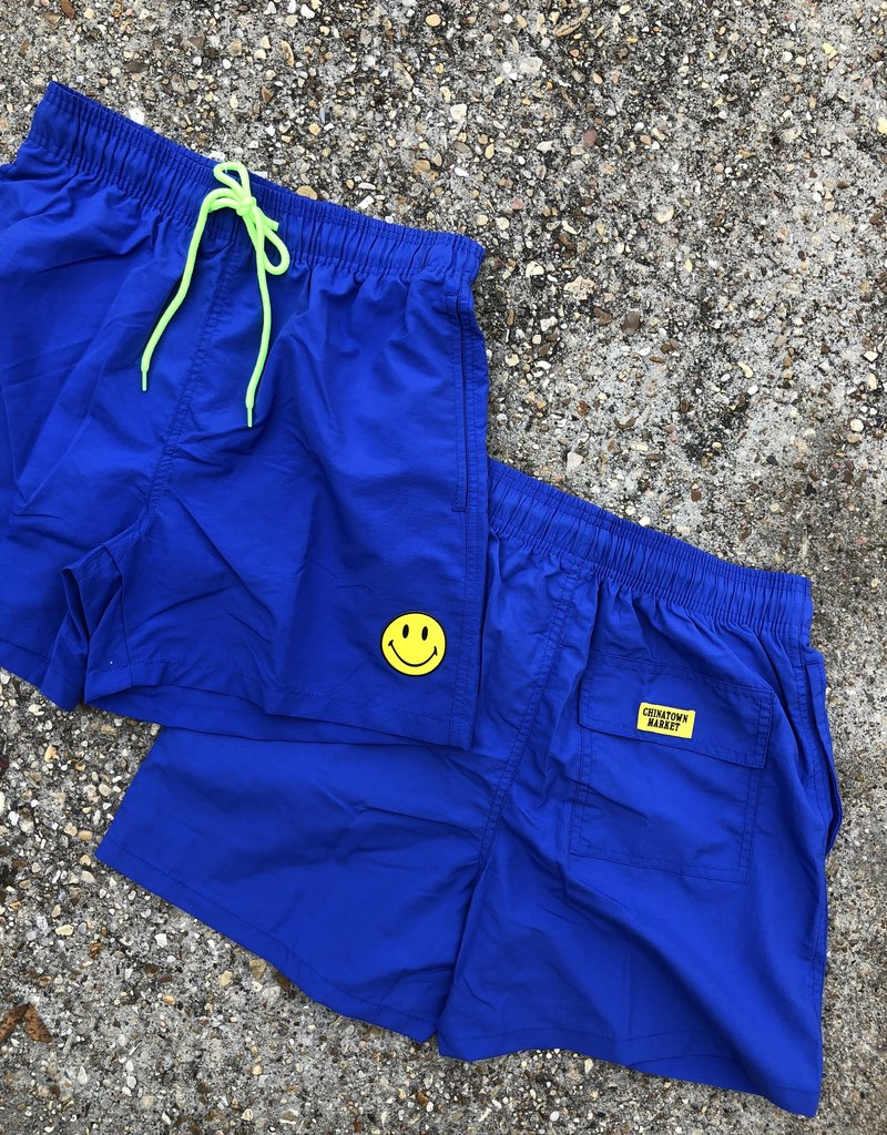Chinatown Market Smiley Swimming Trunks Powder Blue