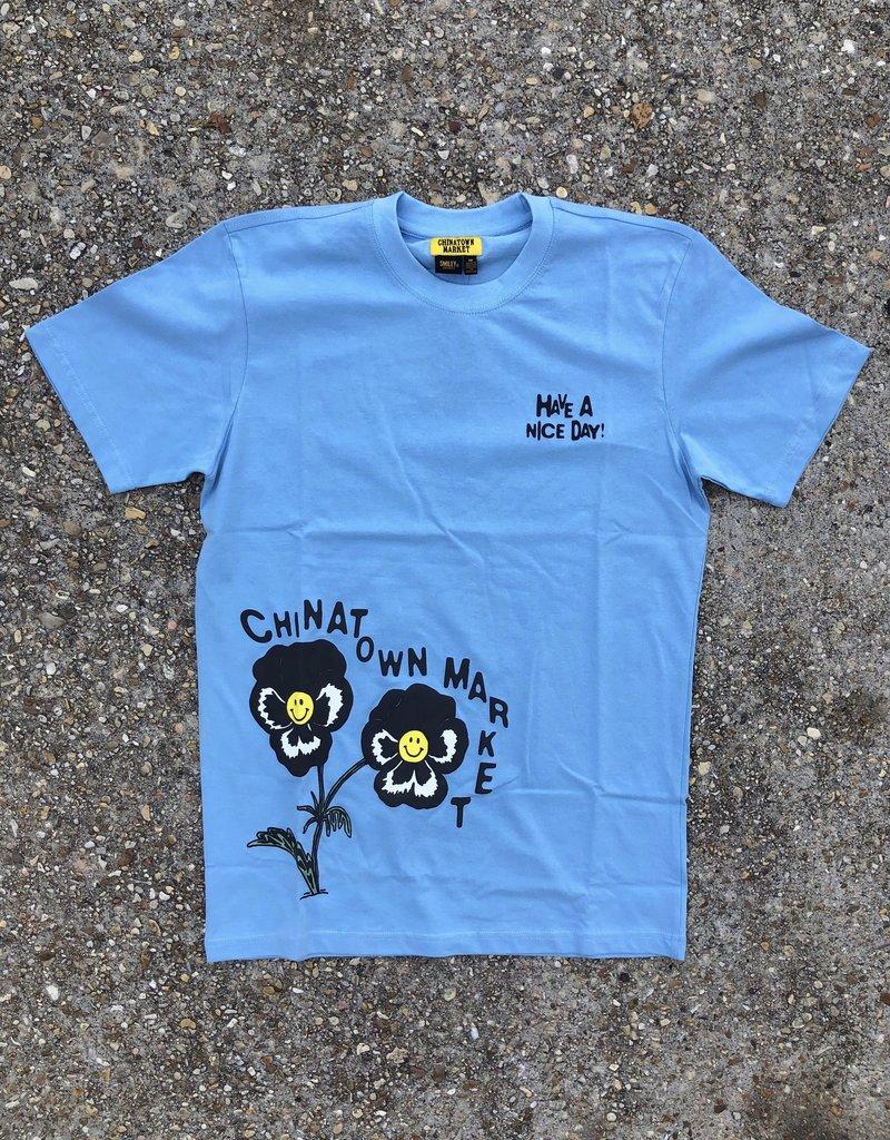Chinatown Market Smiley Flower T-Shirt Blue