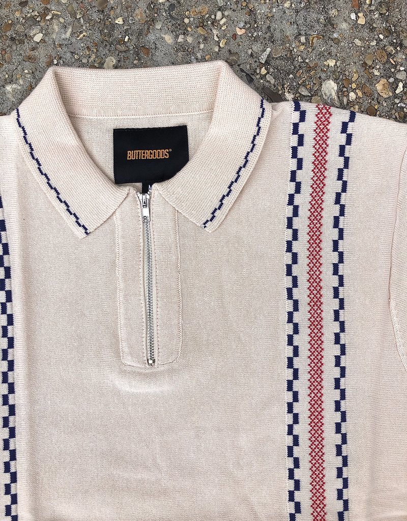 Butter Goods Vito Zip Polo Shirt Bone
