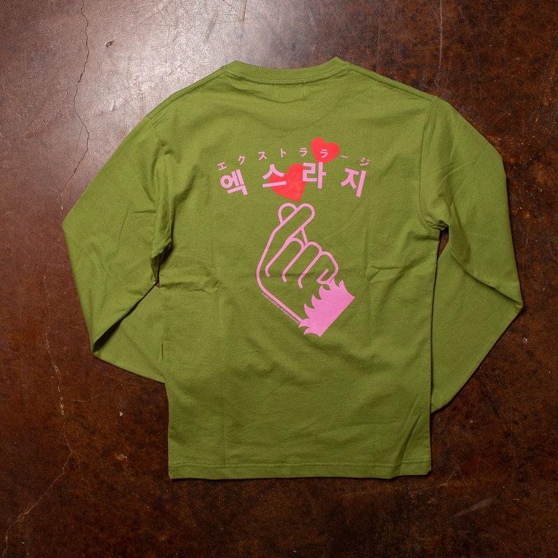 XLarge Finger Heart Long-Sleeve Green