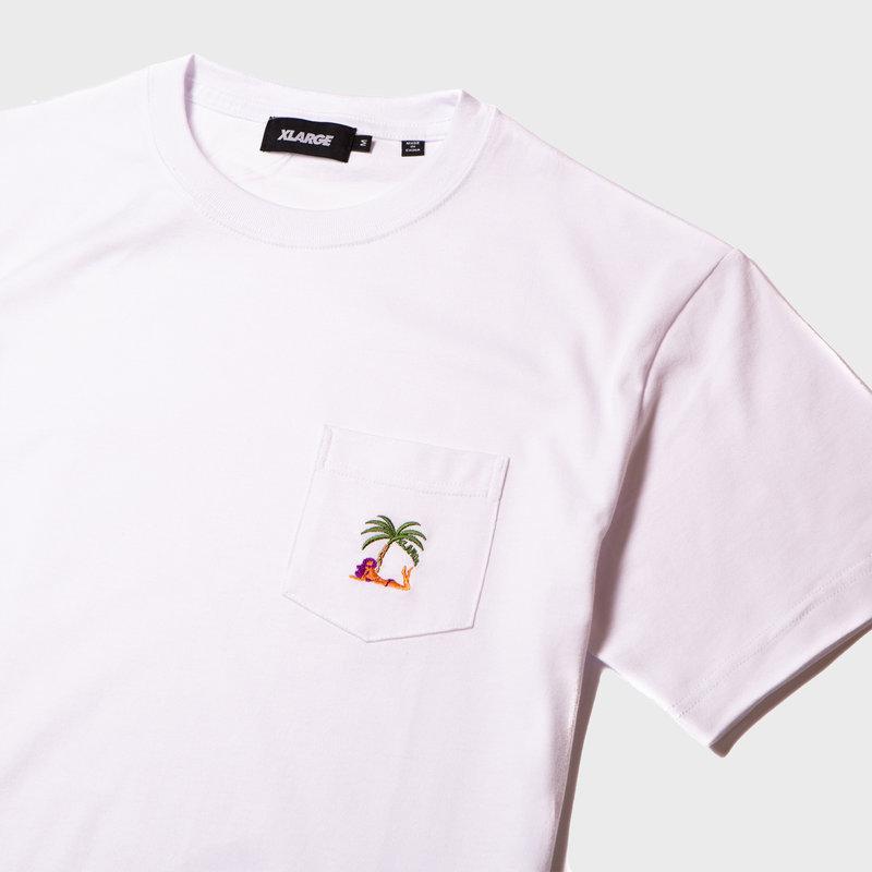 XLarge Palm Tree Pocket Tee White