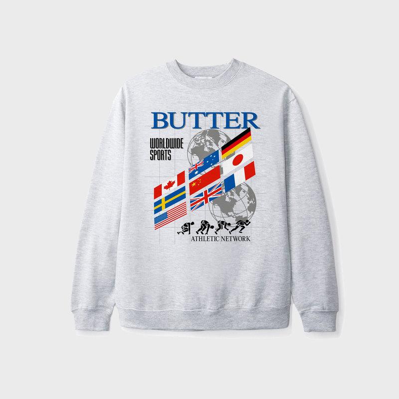Butter Goods Butter Goods Track Crewneck Sweatshirt Heather Grey