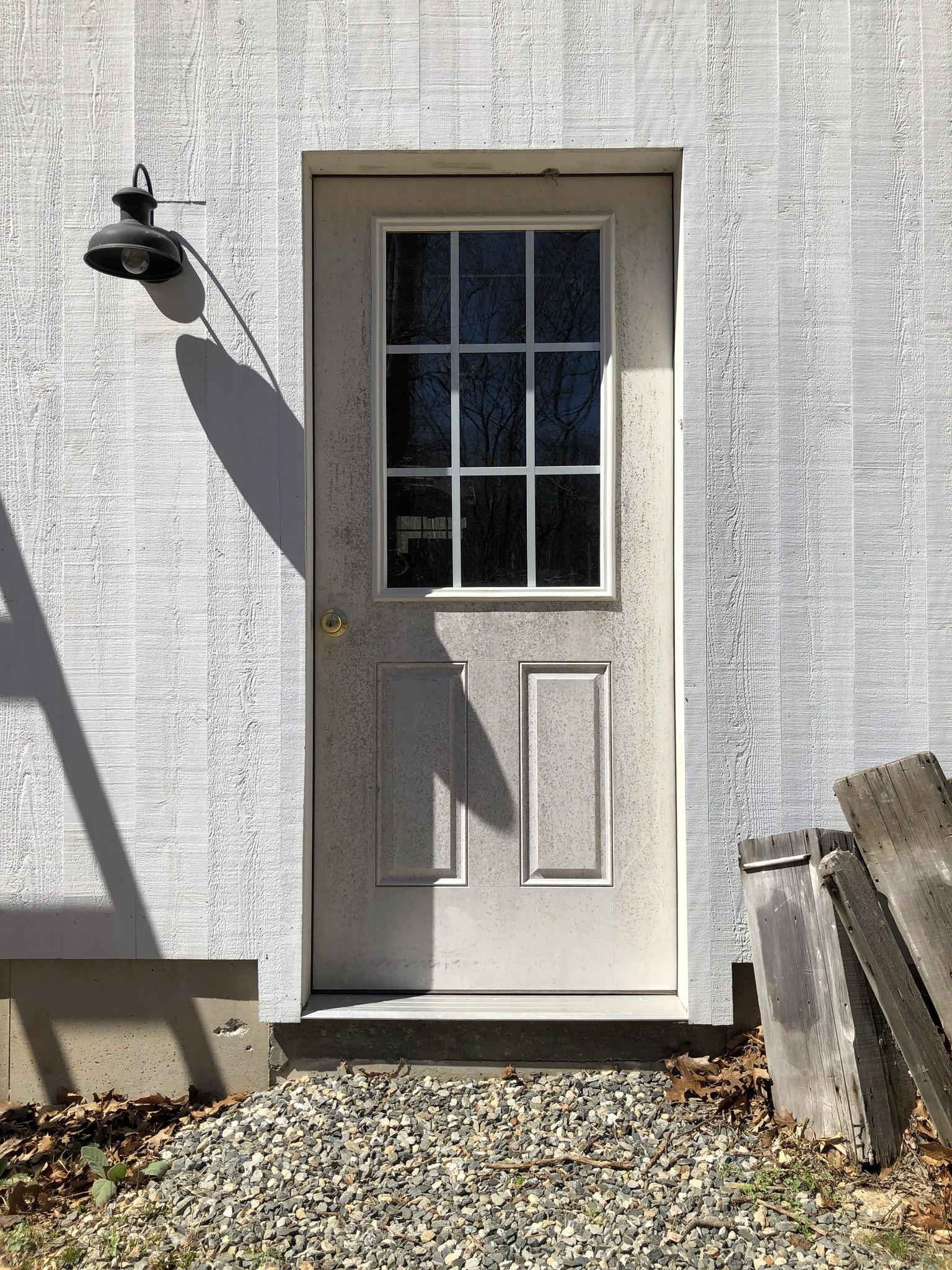 unpainted exterior door