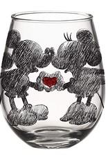 SILVER BUFFALO DISNEY CLASSIC HEART HANDS GLITTER BOXED 20oz STEMLESS GLASS