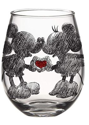 SILVER BUFFALO DISNEY CLASSIC HEART HANDS GLITTER BOXED 20oz STEMLESS GLASS